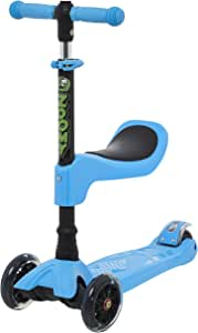 Zoomy Leisure 2-in-1 Mini Scooter with Removable Seat for Kids 18 Months to 4 Years (Blue)