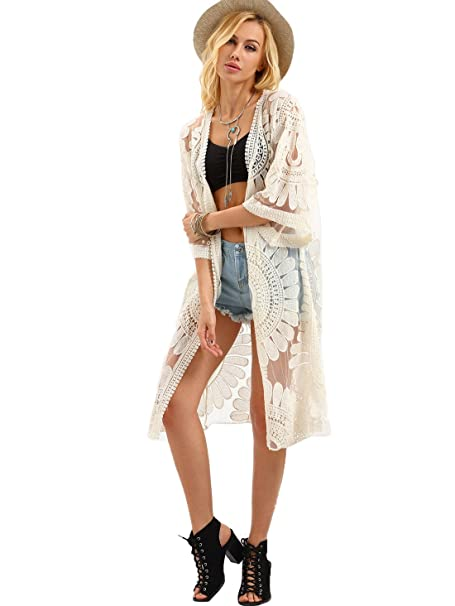 Milumia Womens Open-Front Flower Embroidered Beach Mesh Kimono Cover Up  Cardigan Beige One- 7f964a287
