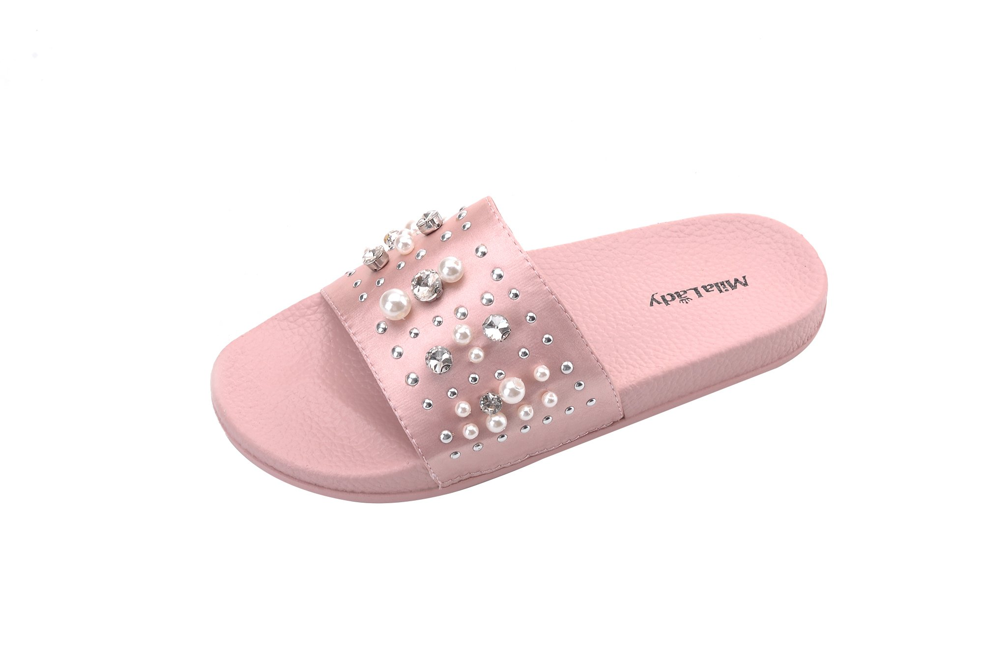 Ashley A Collection(Sandy Women's Fashion Slipper with Pearl and Rhinestone Upper Slip On Silky Slide Sandal, PINK5.5