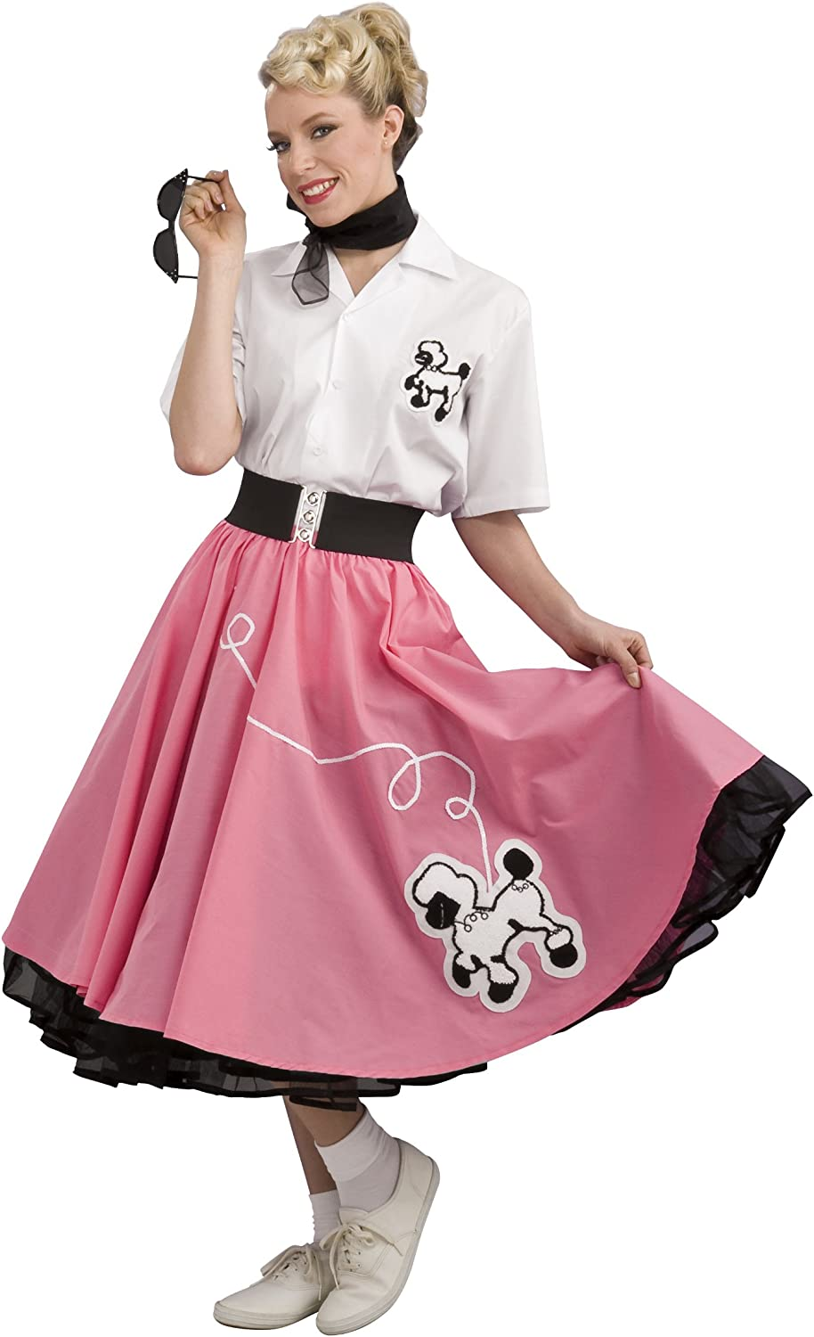 Sock Hop Skirt Scarf White Black Adult Womens Costume Retro 50s Party Halloween