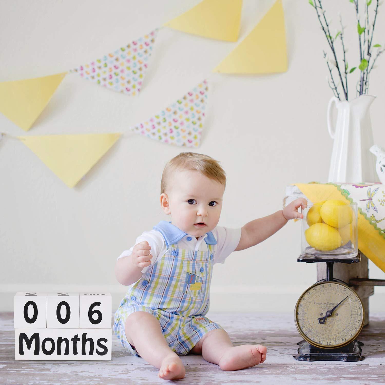 Wooden Baby Age Blocks Monthly Milestone Blocks