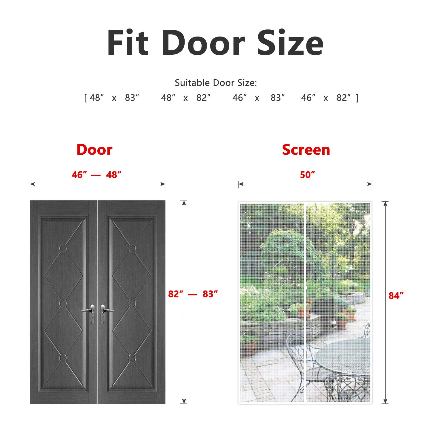 Magnetic Mesh Curtain with Heavy DutyFits Door Size up to 34x82 Max-White MAGZO Magnet Screen Door 34 x 82