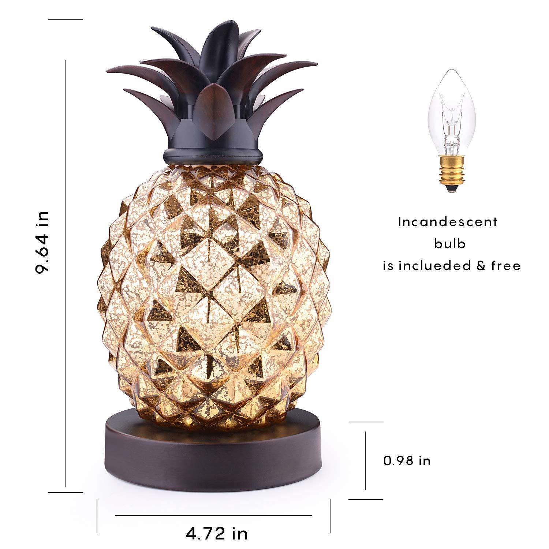 the best attitude c7345 e28af Mercury Glass Pineapple Lamp, Golden Glass Table Lamp for Bedroom, Dresser,  Living Room, Kids Room, Coffee Table, Office, Bookstore, Festival Decor ...