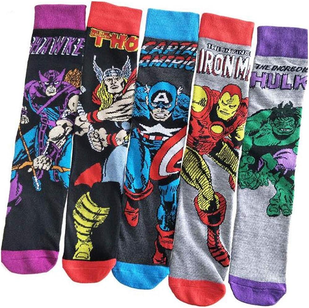 Jintong - 5 pares de calcetines para adulto superhéroes con diseño de Iron Man