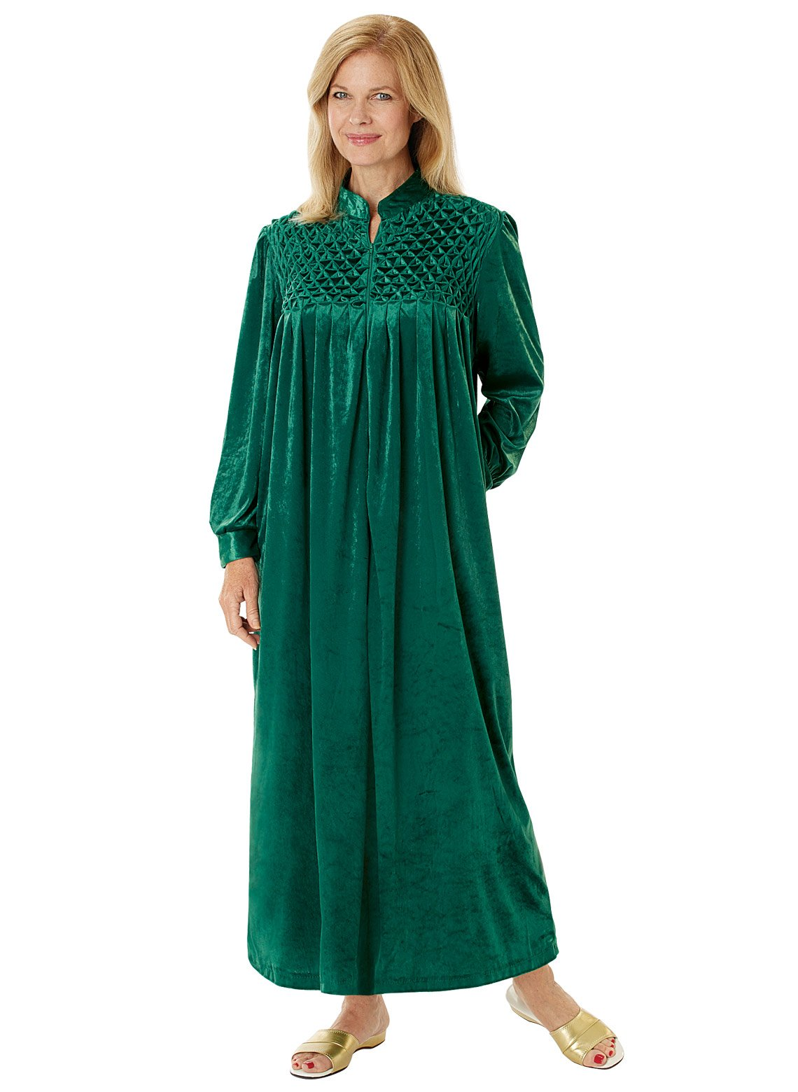 Carol Wright Gifts Long Zip-Front Robe, Emerald, Size Extra Large (2X)