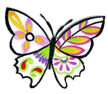 Parche para coser o planchar con bordado de dibujos animados de mariposas blancas de 10,. Pasa ...