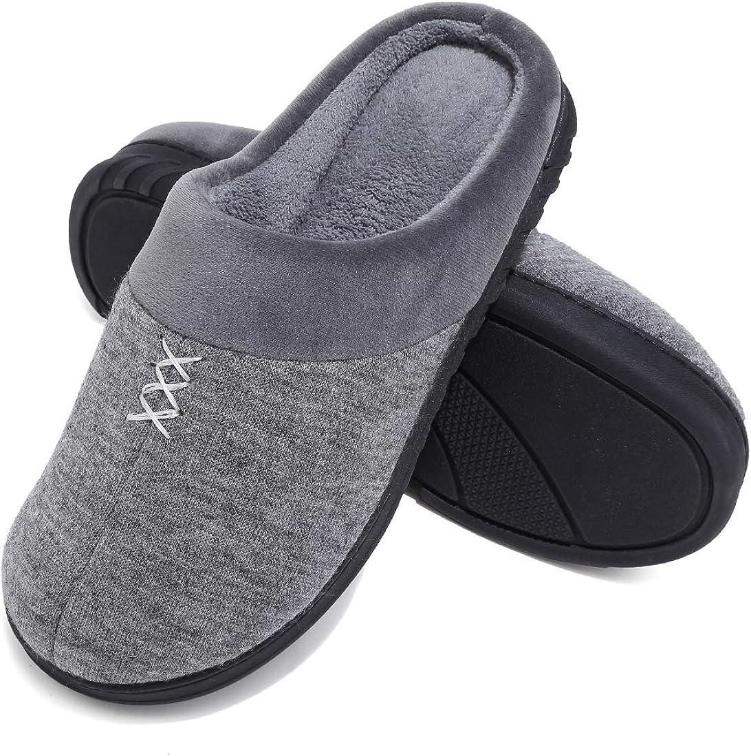 Deevike Pantoufles Chaussons Hommes Maison dhiver Chaud Doublure en Coton Tricot Chaussures Antid/érapant Chausson