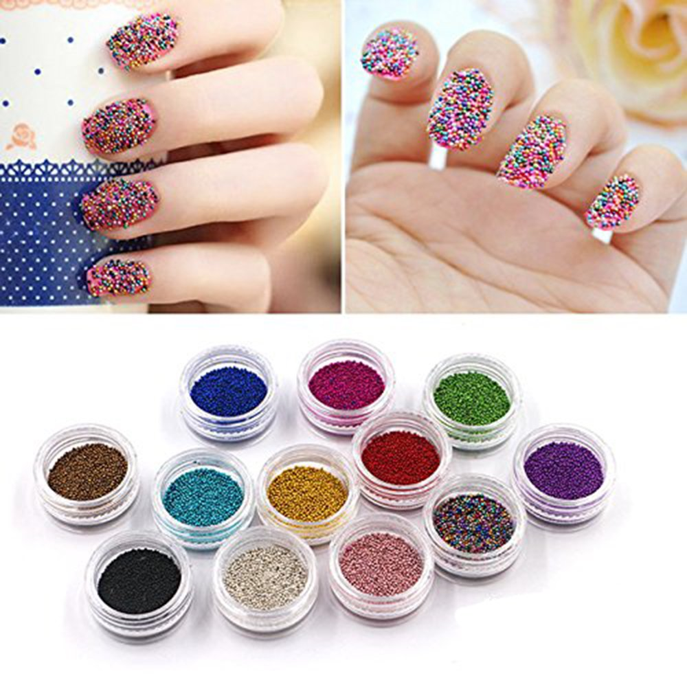 QIMYAR Nail Art Beads Decorations Caviar 3D Studs Nails Caviar Design Mini Charms 12 Bottle/set Sindy