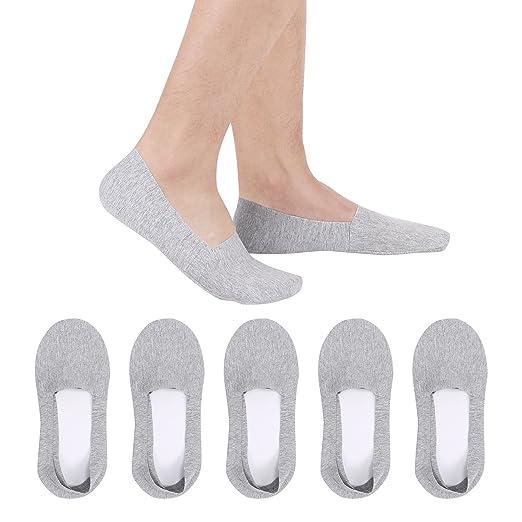 2c594cad3123 Aoboiepye Men's Low Cut No Show Casual Non Slip Athletic Boat Socks Light  Grey