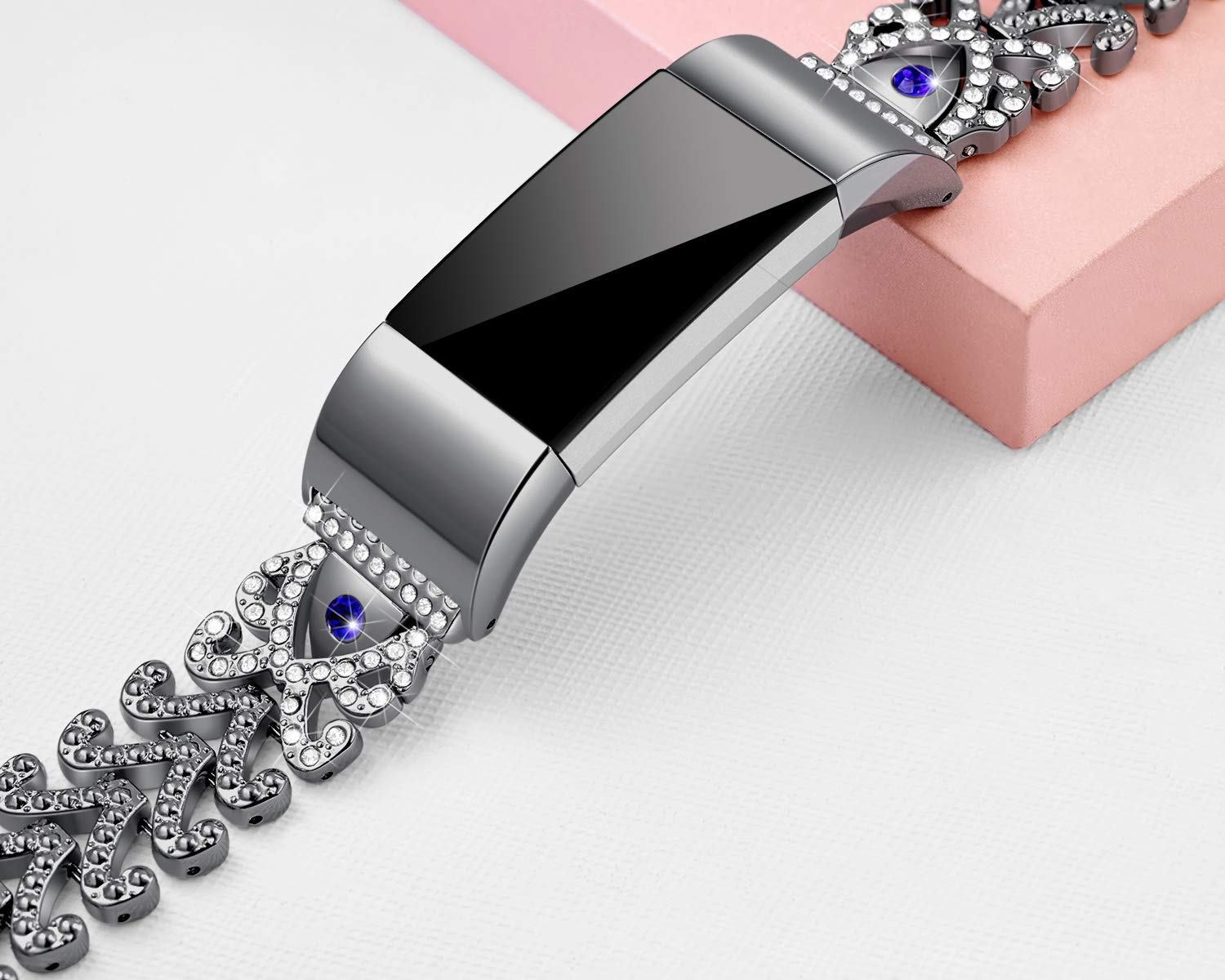 Kaleidoc Bands Compatible Fitbit Charge 2 - Metal Replacement Wristband with Premium Rhinestone Crystals, Adjustable Classy Bracelet Strap Compatible Fitbit Charge 2 Bands