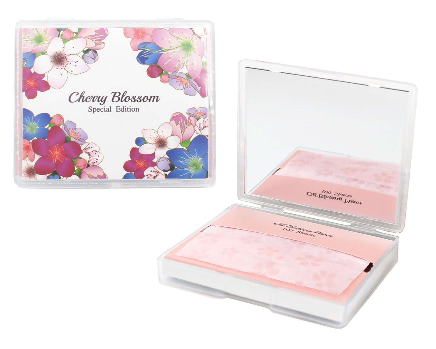 Cherry Blossom Face Oil Blotting Paper Sheets with Makeup Mirror - Oil Absorbing Sheets made in Japan (200 Count, Cherry Blossom)