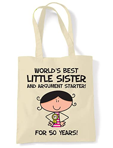 World Best Little Sister Womens 50th Birthday Present Shoulder Tote Bag Amazoncouk Shoes Bags