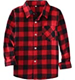 Rainlover Little Boys' Long Sleeve Button Down Plaid Flannel Shirt