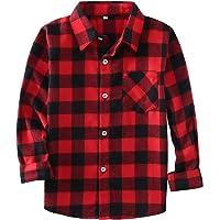 Little Girls' Boys' Long Sleeve Button Down Plaid Flannel Shirt