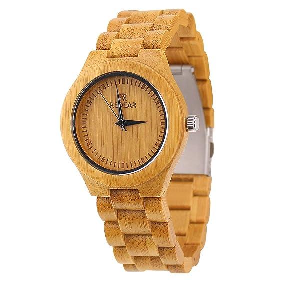 Mujer Cuarzo Japonés Casual Relojes de madera de bambú: Amazon.es: Relojes