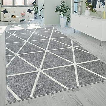 Paco Home Kurzflor Teppich Grau Weiß Wohnzimmer Rauten Muster Skandi Design  Weich Robust, Grösse:60x100 cm