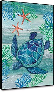 shensu Framed Canvas Wall Art Sea Turtle Cute Animal Prints Posters Starfish Seaweed Wood Background Wall Decor for Living Room Kids Bedroom Bathroom Decor Kitchen Office Artwork 8x10inch
