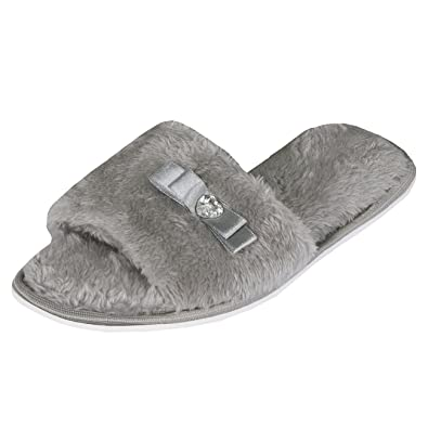 9f78b6c53a4cb Forever Dreaming Womens Open Toe Memory Foam Ribbon and Jewel Slip On Faux  Fur Slippers Grey