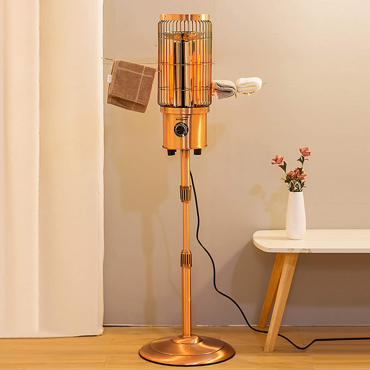 XM&LZ Adjustable Height Electric Heater with Towel Rack,Commercial Home Infrared Heater Patio Heater,Outdoor Heater Office Restaurant