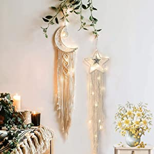 Moon Star Dream Catcher Decor,2pcs Boho Home Moon Star Dreamcatcher, Macrame Cotton Woven Wall Hanging Boho Decor For Home Wedding Kids Baby Bedroom Craft Gift Decoration And Led Light String