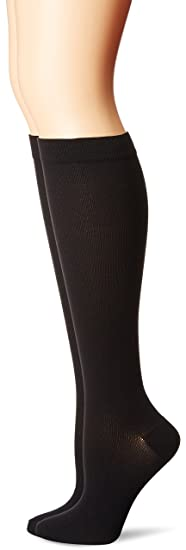24d35c7b8a MediPeds Nylon Over The Calf Socks with Compression Fit 2 Pairs, Black, W 7