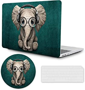 DAPESUOM MacBook Air 13 Inch Case 2020 2019 2018 Release Only Compatible with A2179 A1932 Retina Display, 13 inch MacBook Air Case, Plastic Hard Shell + Keyboard Cover + Mouse Pad, Cute Elephant