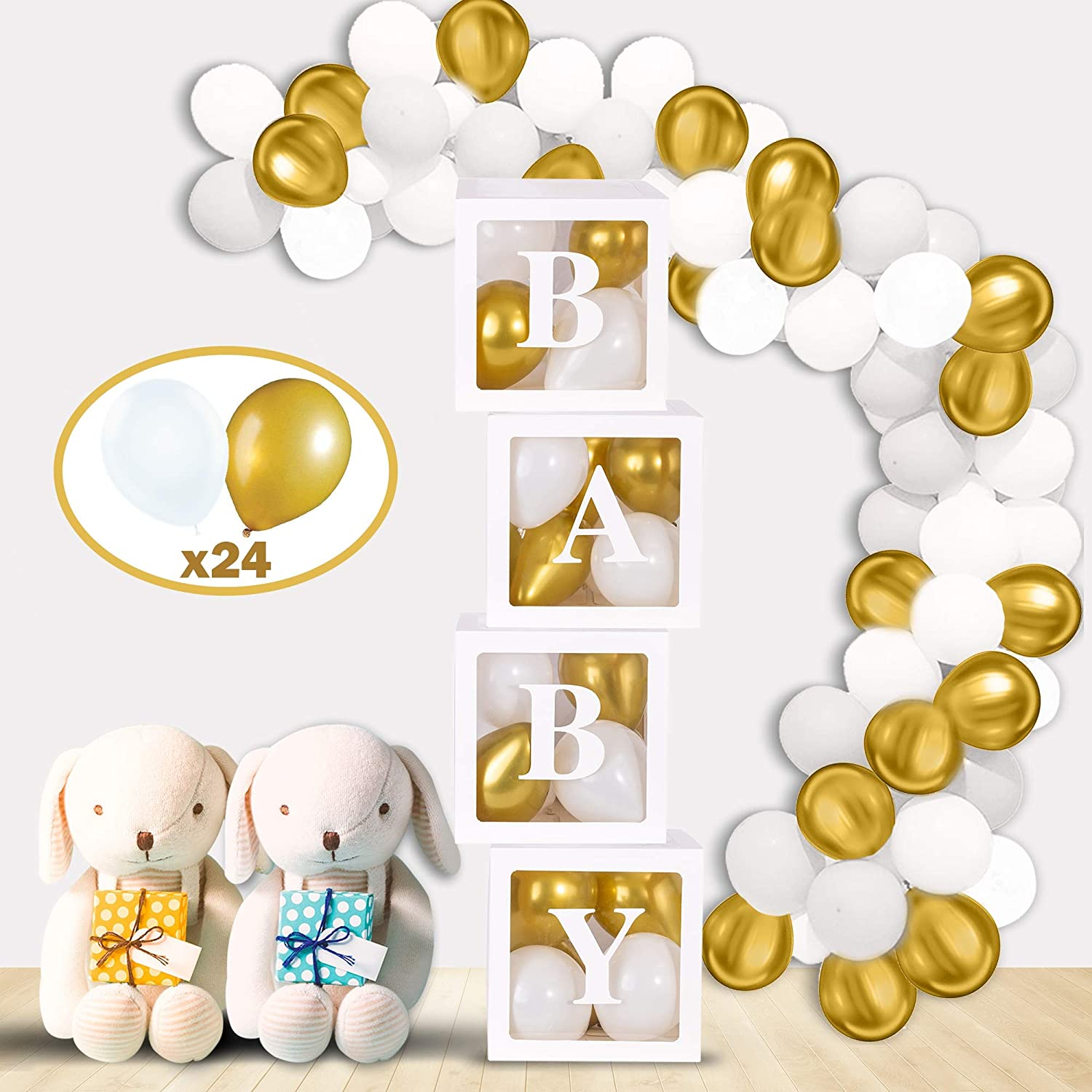 Mint & Elm Baby Shower Decorations for Girls and Boys, Clear Boxes with Balloons, Birthday Decorations, Gender Reveal Box for Balloons, 37 Pieces (Gold)