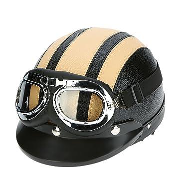 KKmoon Motorrad Roller Open Face Halbes Leder-Helm mit Visier UVschutzbrille Retro Vintage Style 54-60cm