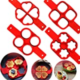 Bidlsbs 4-pack Perfect Pancakes MoldNon-Stick Silicone Fried Egg Ring MoldCake Shaper- assorted shapes- Round/oval/flowers/heart