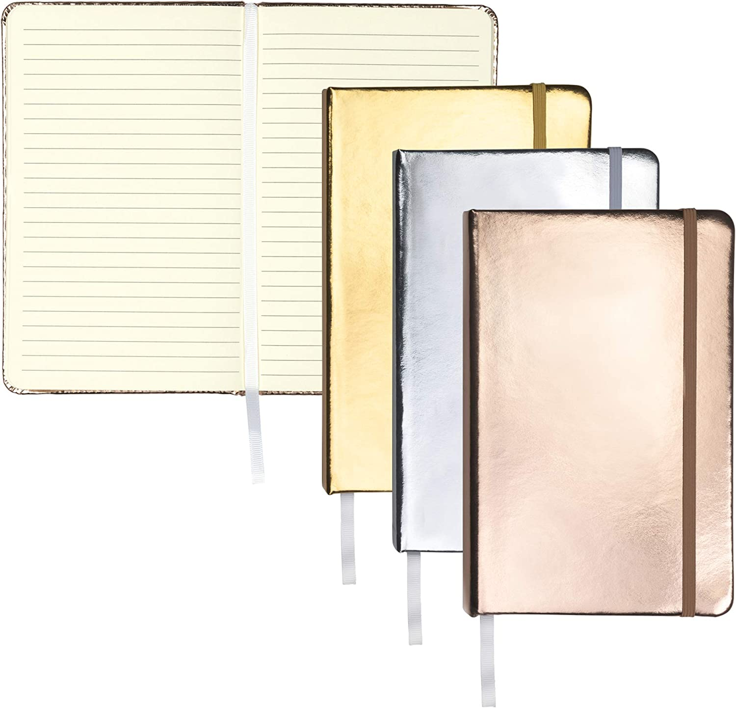 """Samsill 3 Pack Hardcover Writing Notebook, Metallic Journal Gift Set Includes 1 Silver, Gold, and Rose Gold Journal, Classic 5.25"""" x 8.25"""" Lined Journal"""