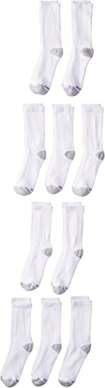 Hanes Ultimate Boys Big 12-Pack Crew Socks Small White Shoe Size: 4.5-8.5