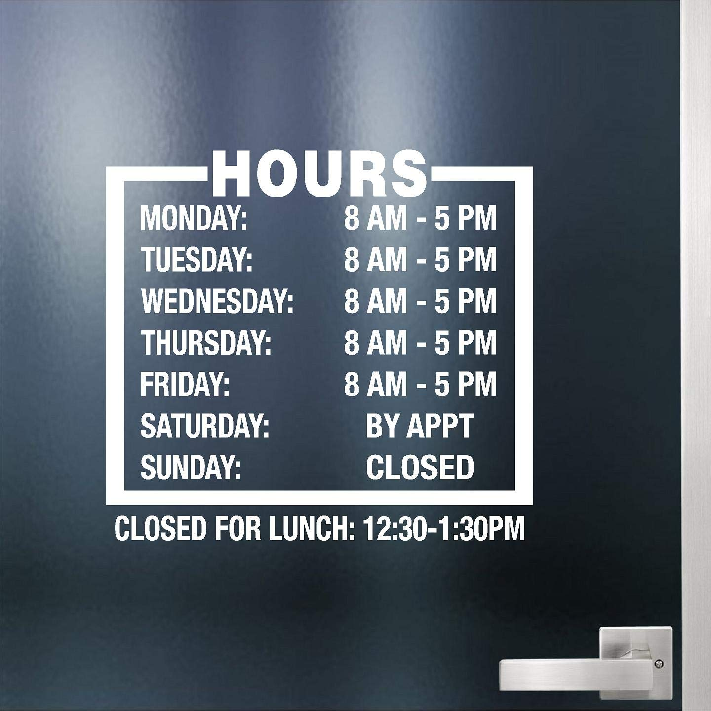 Custom business hours sign for glass door windows smooth surfaces hours of operation sign open closed store hours sign lunch hours 12 x 11