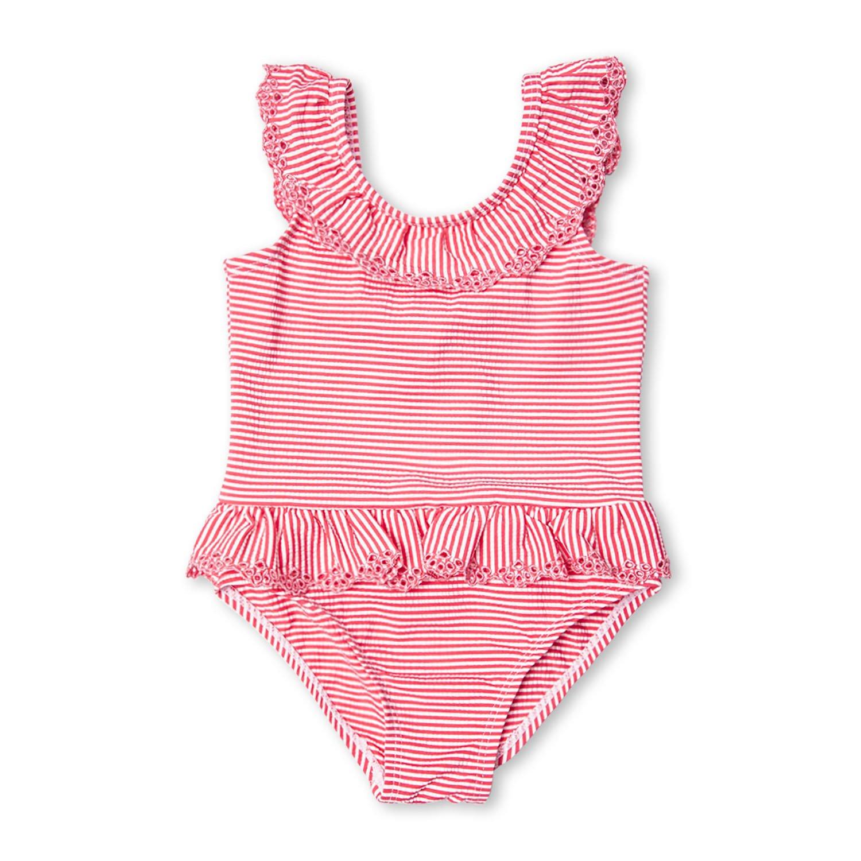 7-Mi Kleine Mädchen gekräuselte rosa gestreifte Badeanzüge Einteiler Bikini Bademode 2-6Yrs