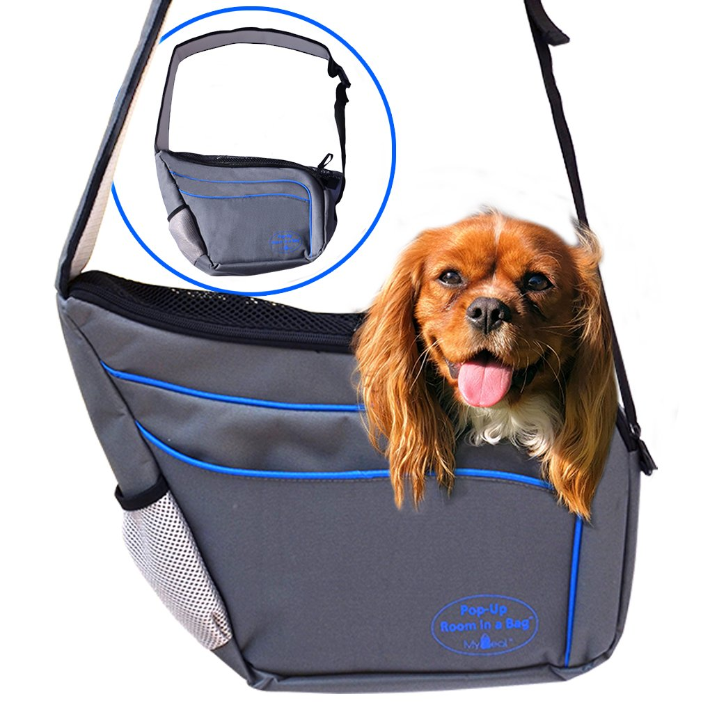 MyDeal Pet Shoulder Bag Sling Carrier with Weather Resistant Oxford Material, 2 Storage Pockets and Net Zipper Top for Puppies, Dogs, Kittens, Cats, Rabbits + more!