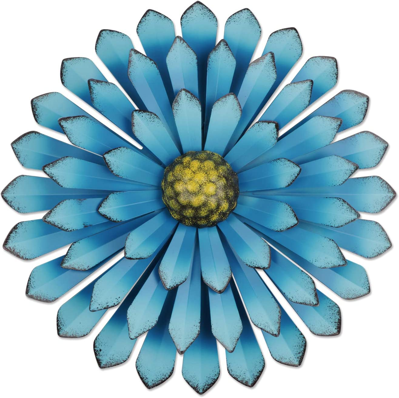 YiYa 33CM Metal Flower Wall Art Decorations Indoor or Outdoor Wall Sculptures Hanging for Bathroom Livingroom Bedroom (Sky Blue)
