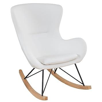 Swing Design Sessel Scandinavia Schaukelsessel Wohnzimmersessel Weiß Stuhl Schaukelstuhl UpGqSMVLz