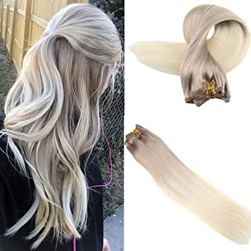 Easyouth 18 Balayage Colored Remy Clip In Hair Blonde Roots Extensions Color 18 Ash Blonde