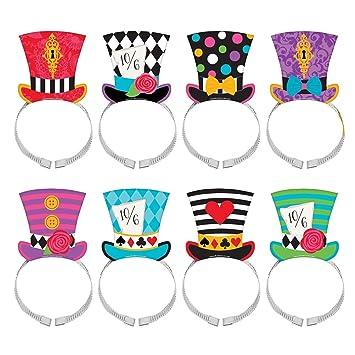 8 x mad hatter tea party hat headband set wonderland birthday card rh amazon co uk