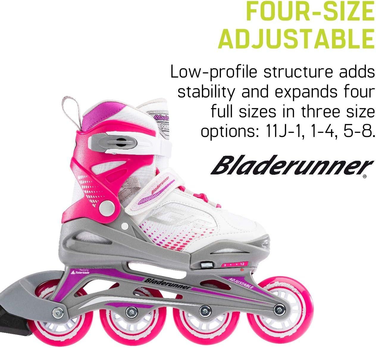 Value Performance Inline Skates Junior Bladerunner by Rollerblade Phoenix Girls Adjustable Fitness Inline Skate White and Fuchsia