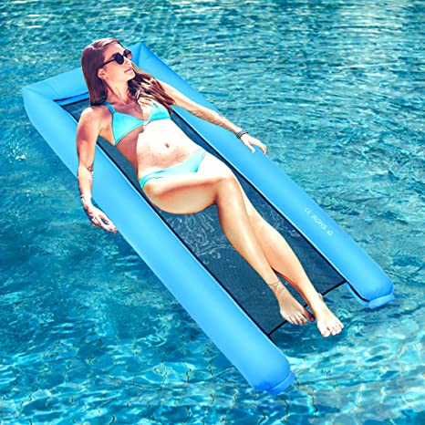Dreampark Inflatable Water Hammock Pool Floats Portable Floating Lounger Chair For Adults Kids Summer Swimming Pool Beach Travel Accessories 440lb