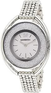 ساعة يد نسائية من سواروفيسكي بمينا لون فضي وسوار من الستانلس ستيل - 5181008