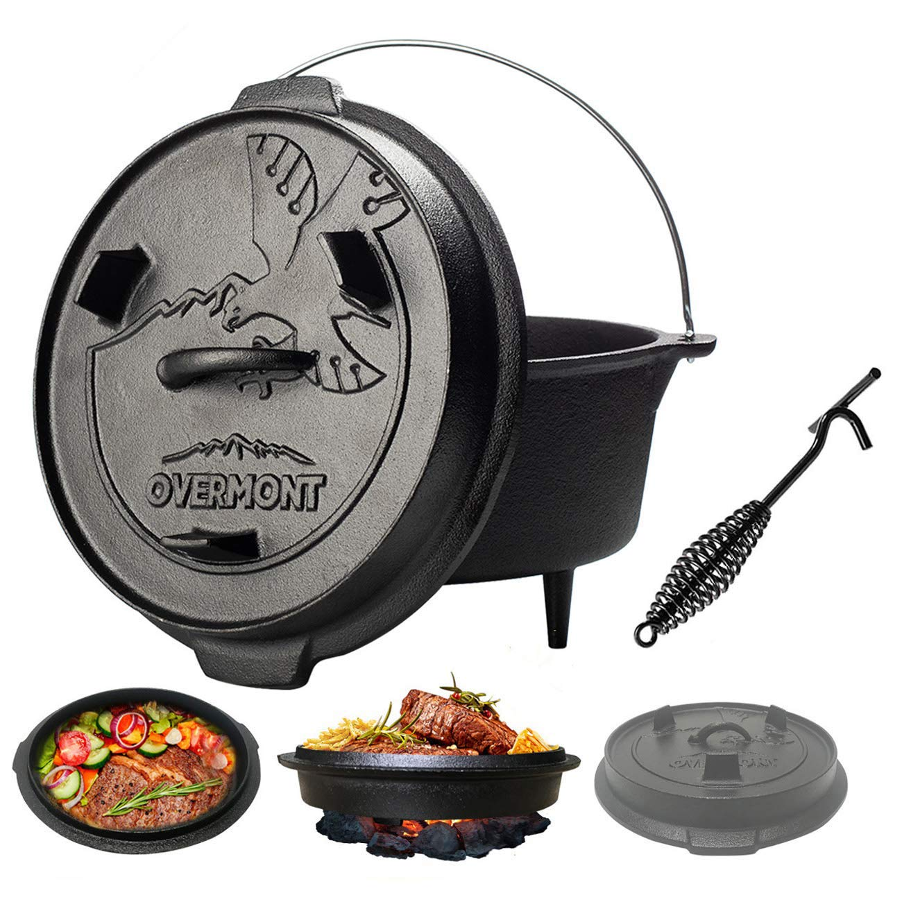 Overmont 6 Quart Camp Dutch Oven All-round Cast Iron Casserole Pot Dual Function Lid Griddle Pre Seasoned with Lid Lifter Handle for Camping Cooking BBQ Baking by Overmont