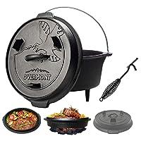 Holzkohlegrill Schwarz XL Gusseisen Charcoal Grill Camping Garten Picknick ✔ Deckel ✔ rund ✔ tragbar ✔ Grillen mit Holzkohle