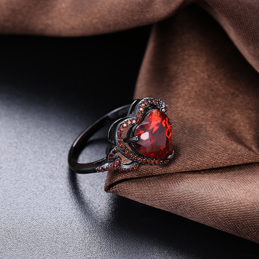 BEMI Romantic Black Gold Red Heart AAA Zircon Band Promise Ring Valentine Gift Statement Rings for Womens 8 by BEMI (Image #3)