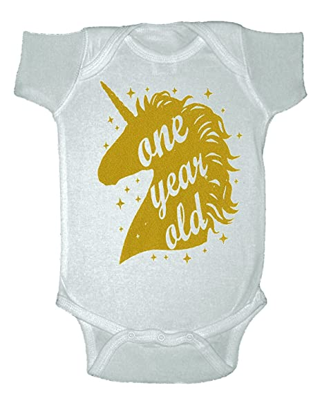 1375ee0a652cc Amazon.com: Custom Kingdom Unicorn One Year Old Gold First Birthday Bodysuit  (12 Months, White): Clothing