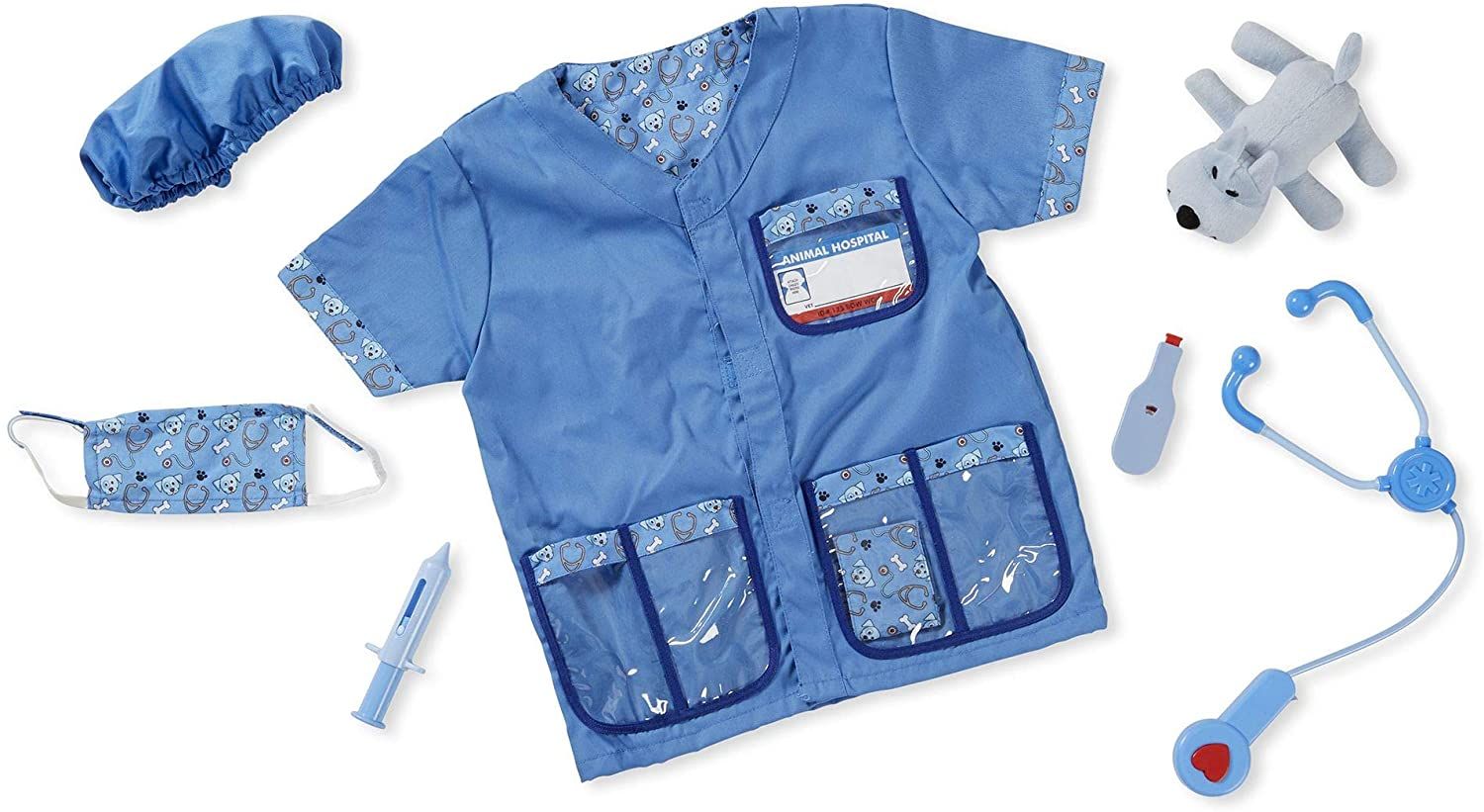 Melissa Doug Veterinarian Role Play Costume Set Pretend Play High Quality Materials Machine Washable 44 45 Cm H X 60 96 Cm W X 1 905 Cm L