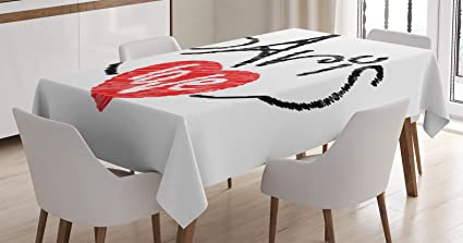 Ambesonne Paris Decor Tablecloth, I Love Paris Theme With Eiffel Tower  Silhouette In The Letters