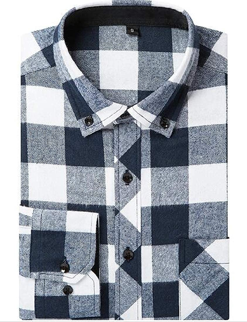 Domple Mens Plaid Button Down Slim Long Sleeve Casual Flannel Checkered Shirt