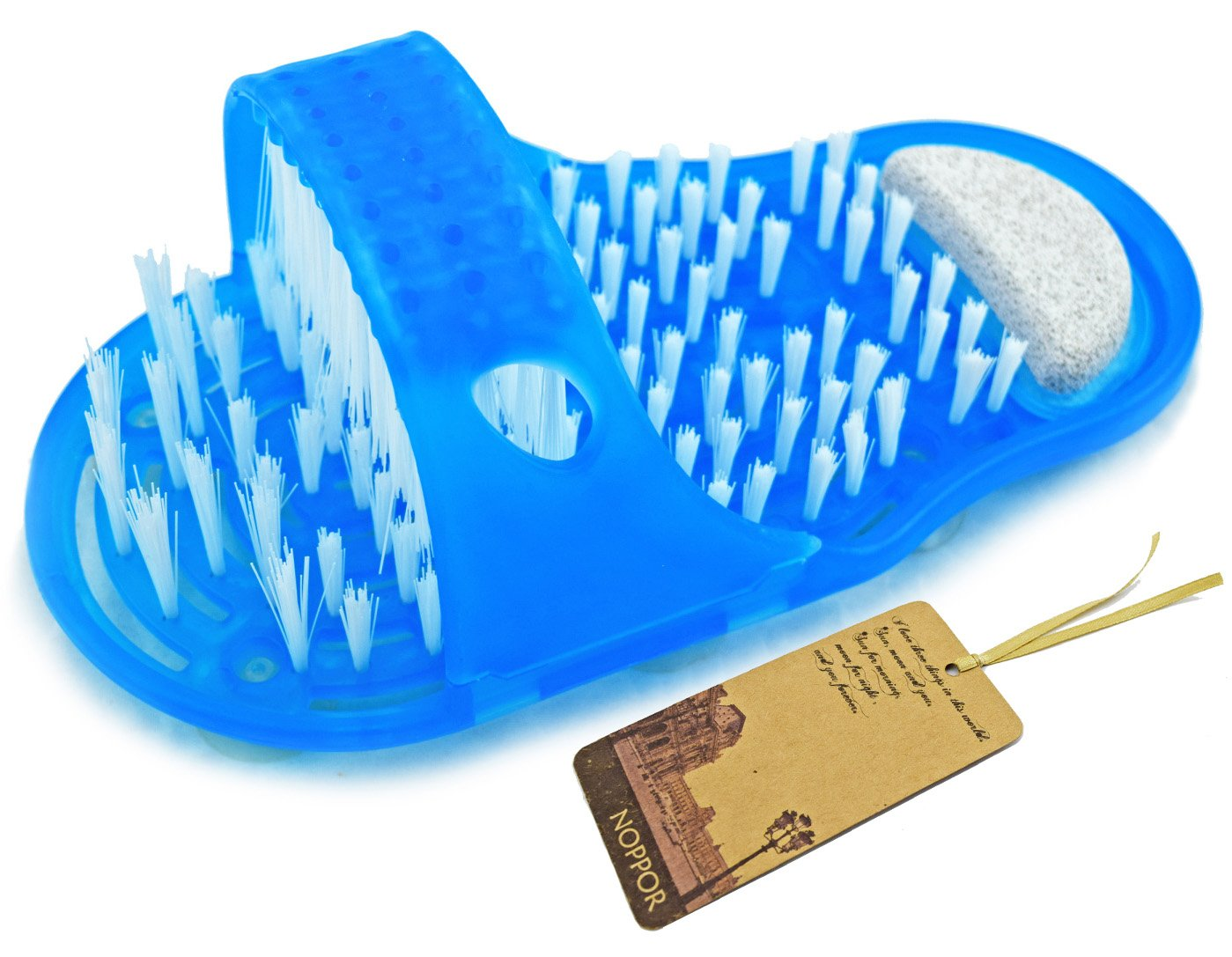 Noppor Bathroom Shower No Bending Feet Brush Foot Cleaning Bristle Slipper Bath Scrubber Massager Stick on Floor (Blue)