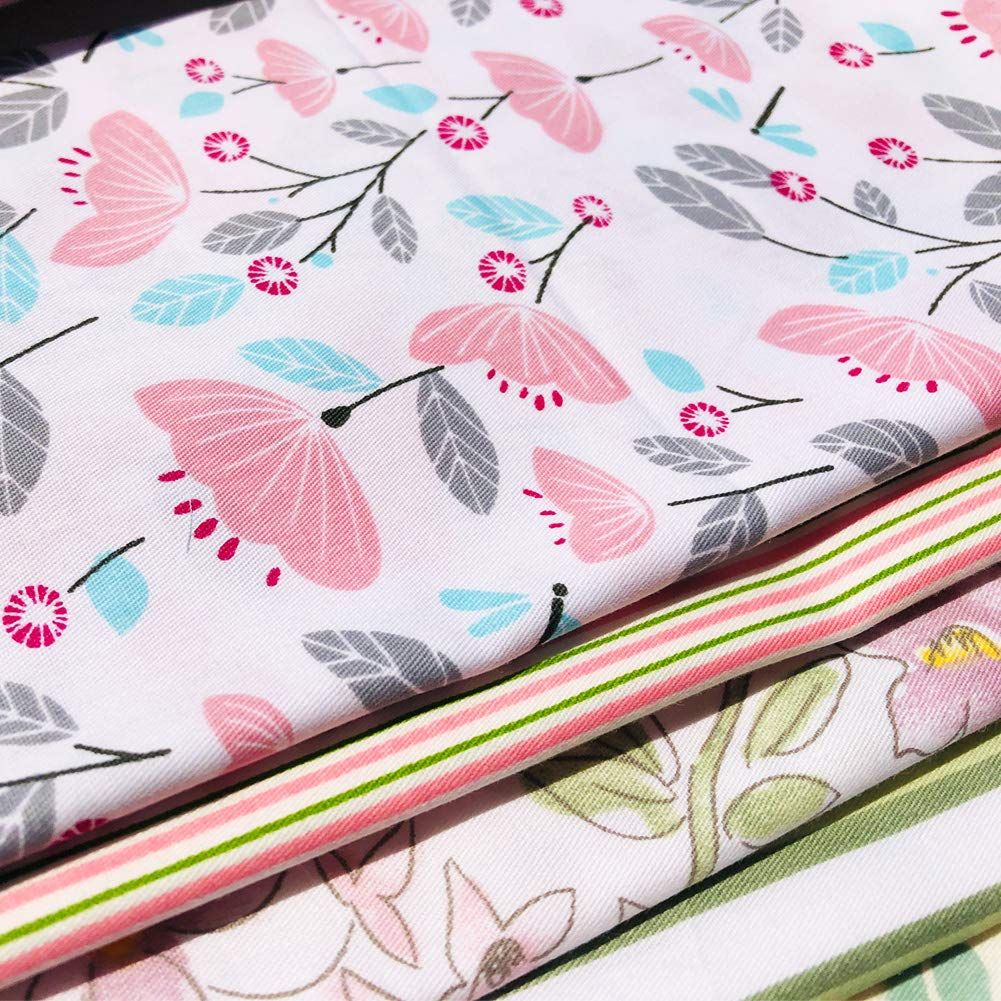 51cmx51cm flic-flac 20 x 20 inches 6pcs, Pink Fat Quarter Natural Cotton Quilting Fabric Thick Craft Printed Fabric High Density Bundle Squares Patchwork Lint DIY Sewing